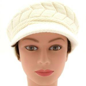 Women Stretch Knit Brimmed Beanie White New